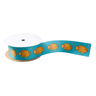 Parrot Fish with Heart Bubbles 1.5 Inches Satin Ribbon