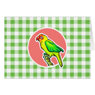 Parrot; Green Gingham Card