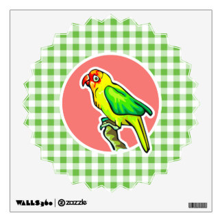 Parrot; Green Gingham Wall Decal