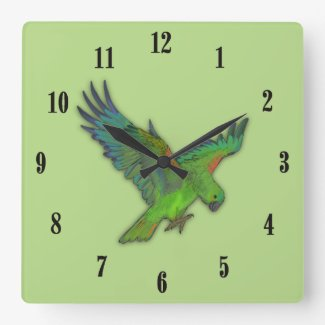 Parrot Green with Black Numbers Square Wall Clock