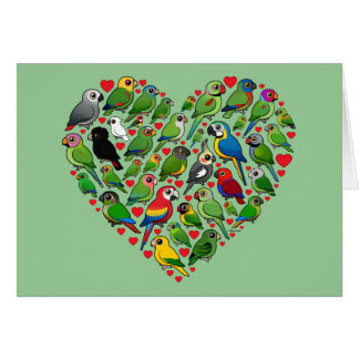 Parrot Heart Greeting Cards