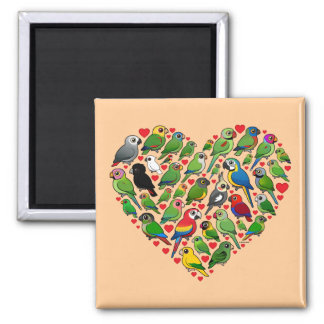 Parrot Heart 2 Inch Square Magnet