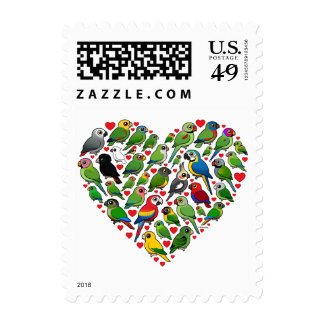 Parrot Heart Postage