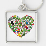 Parrot Heart Silver-Colored Square Keychain