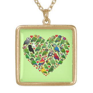 Parrot Heart Square Pendant Necklace