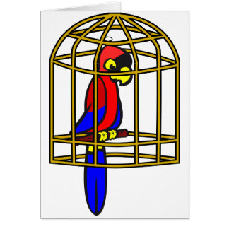 Parrot In A Cage Greeting Cards