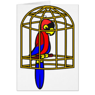 Parrot In A Cage Note Cards