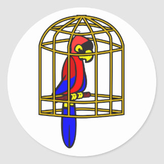 Parrot In A Cage Stickers Round Sticker
