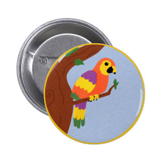 Parrot in a Tree Whimsical Cartoon Art Pins