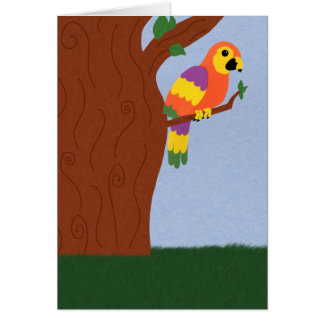 Parrot in a Tree Whimsical Cartoon Art Cards