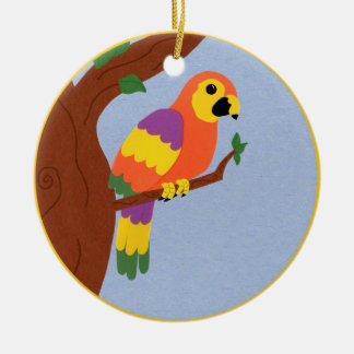 Parrot in a Tree Whimsical Cartoon Art Ceramic Ornament