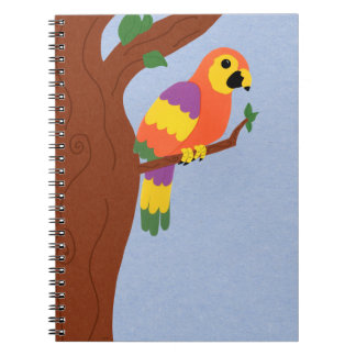 Parrot in a Tree Whimsical Cartoon Art Spiral Notebooks
