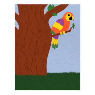 Parrot in a Tree Whimsical Cartoon Art Post Cards
