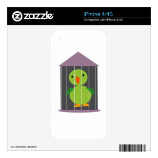 parrot in cage iPhone 4 skin