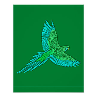 Parrot in Flight, Jade Green and Turquoise Poster