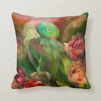 Parrot In Parrot Tulips Art Decorator Pillow