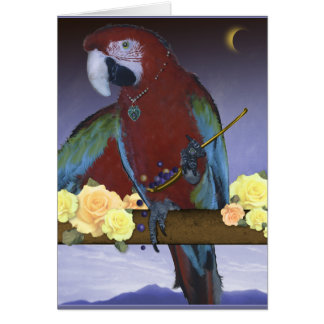 Parrot in the moonlight card