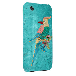 Parrot Jewel Turquoise Snowflakes iPhone 3G Case iPhone 3 Case