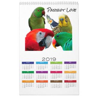 "Parrot Love 2019 Calendar, Single Page, 17"" x 11"" Calendar"