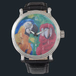 "Parrot Love Birds Watch<br><div class=""desc"">Portrait of two tropical macaw parrots in love - Watch Classic Black Leather Strap &amp; White Numerical Clock Face. A cute love story. He whispered in her ear everything she longed to hear - 3 words - I love you! ❤ One parrot is blue &amp; yellow, and the other is...</div>"