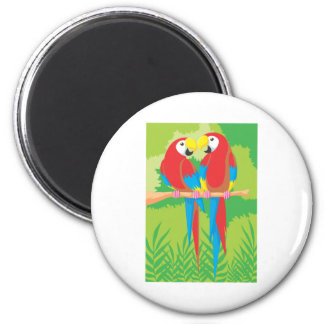 Parrot Lovers 2 Inch Round Magnet