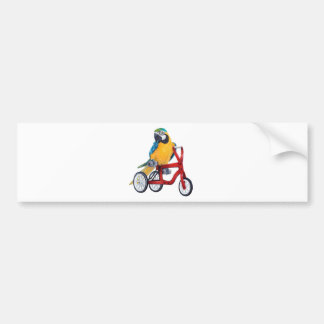 Parrot Macaw on Tricycle bike Bumper Sticker