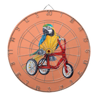 Parrot Macaw on Tricycle bike Dartboard
