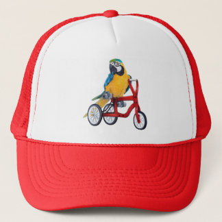 Parrot Macaw on Tricycle bike Trucker Hat