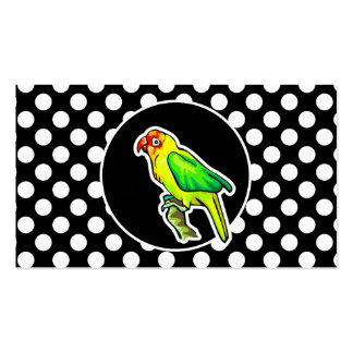Parrot on Black and White Polka Dots Double-Sided Standard Business Cards (Pack Of 100)