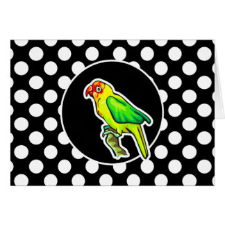 Parrot on Black and White Polka Dots Card