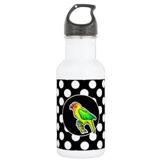 Parrot on Black and White Polka Dots Stainless Steel Water Bottle