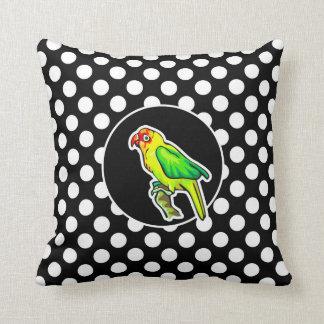 Parrot on Black and White Polka Dots Throw Pillow