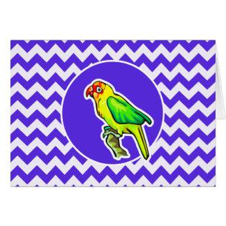 Parrot on Blue Violet Chevron Card