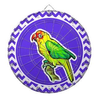 Parrot on Blue Violet Chevron Dart Board