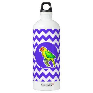 Parrot on Blue Violet Chevron Water Bottle