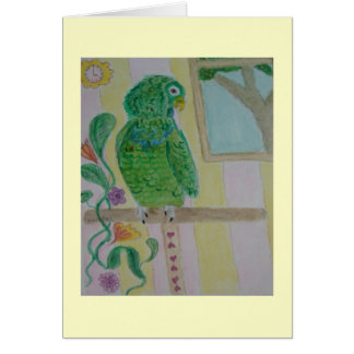 parrot on perch card