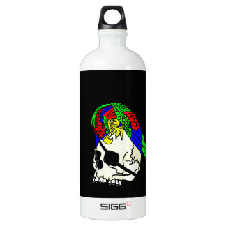 Parrot On Pirate Skull With Black Background SIGG Traveler 1.0L Water Bottle