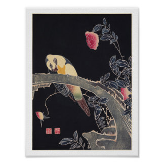 Parrot on the Branch, Flowering Rose Bush, Jakuchū Poster