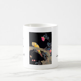 Parrot on the Branch of a Flowering Rose Bush Classic White Coffee Mug