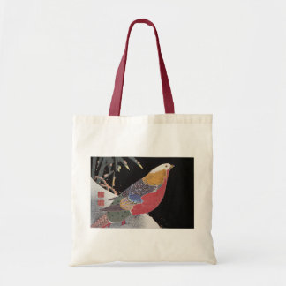 Parrot on the Branch of a Flowering Rose Bush, Jak Tote Bag