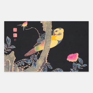 Parrot on the Branch of a Flowering Rose Bush Rectangular Sticker