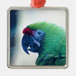 Parrot Square Metal Christmas Ornament