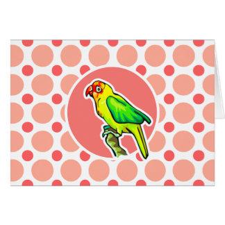 Parrot; Pink & Coral Polka Dots Card