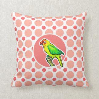 Parrot; Pink & Coral Polka Dots Throw Pillow