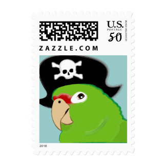 parrot pirate BIRTHDAY postage stamp