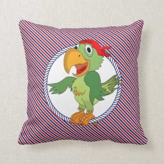 Parrot Pirate Nautical Stripes Throw Pillow