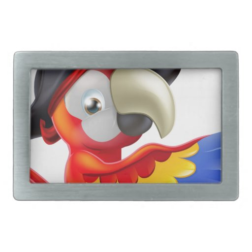 Parrot pirate pointing rectangular belt buckle
