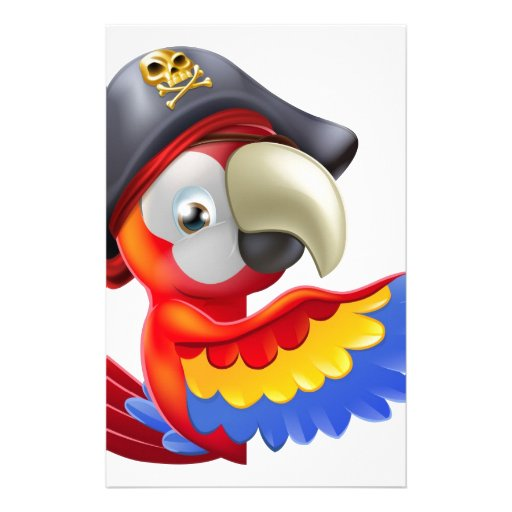 Parrot pirate pointing personalized stationery