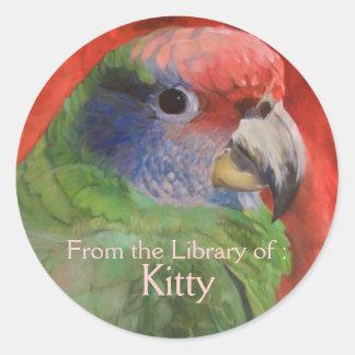 Parrot Portrait Art Custom Bookplate sticker