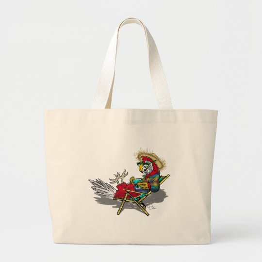 Parrot Relaxing in Beach Chair Large Tote Bag